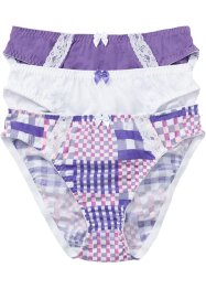 Lot de 3 slips, bpc bonprix collection, imprimé+blanc+lilas