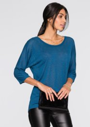 Shirt in Strickoptik, BODYFLIRT, blaupetrol