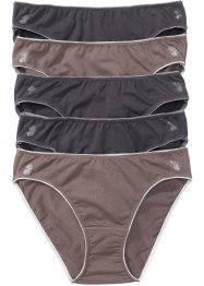 Lot de 5 slips en coton bio, bpc selection, marron/gris