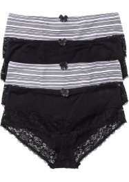 Panty (4er-Pack), bpc selection, schwarz gestreift