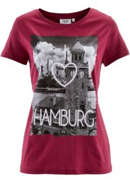 "Shirt, Kurzarm, bpc bonprix collection, beerenrot bedruckt ""Hamburg"""