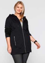 Long-Sweatjacke, bpc bonprix collection, schwarz