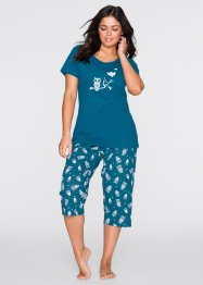 Capri-Pyjama, bpc bonprix collection, blaupetrol/weiß