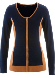 Strickjacke, bpc selection, dunkelblau/bronze