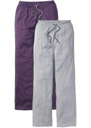 Lot de 2 pantalons de pyjama en jersey, bpc bonprix collection, violet/gris clair chiné