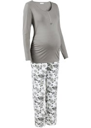 Still-Pyjama, bpc bonprix collection, grau/bedruckt