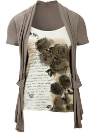 2-in-1-Shirt, BODYFLIRT, taupe/cremeweiss