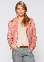 Veste en simili cuir velours, bpc bonprix collection, corail clair