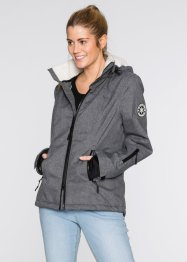 Funktions-Outdoorjacke mit Teddyfleece, bpc bonprix collection, schiefergrau meliert