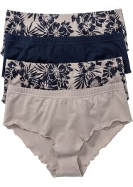Panty (4er-Pack), bpc bonprix collection, naturstein/dunkelblau bedruckt