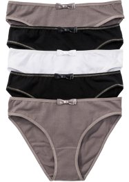 Lot de 5 slips, bpc bonprix collection, marron moyen/noir/blanc
