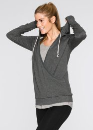 Sweatshirt in Wickeloptik, bpc bonprix collection, grau meliert