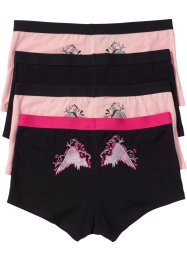 Damen-Boxer (4er-Pack), bpc bonprix collection, schwarz/rosa bedruckt