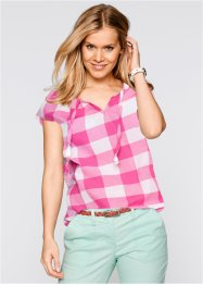 Kurzarm-Blusentunika, bpc bonprix collection, flamingopink kariert