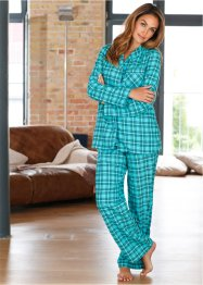 Flanell-Pyjama, bpc bonprix collection, petrol kariert
