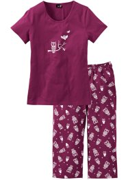 Capri-Pyjama, bpc bonprix collection, beere/weiß