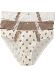 Lot de 3 slips, bpc bonprix collection, imprimé + champagne + taupe