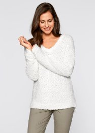 Flausch-Pullover, bpc bonprix collection, wollweiß