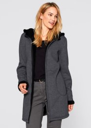 Sweat-Jacke mit Teddyfell, bpc bonprix collection, anthrazit meliert