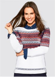 Pullover mit Jacquard Muster, bpc bonprix collection, wollweiß gemustert