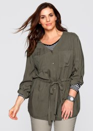 Cargo-Bluse, Langarm, bpc bonprix collection, dunkeloliv