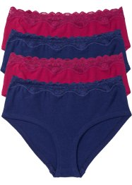 Panty (4er-Pack), bpc bonprix collection, mitternachtsblau/dunkelrot