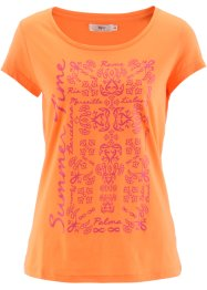 Kurzarmshirt, bpc bonprix collection, nektarine/dunkelpink bedruckt