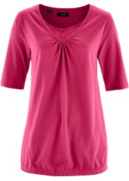 Halbarm-Shirt mit Spitze, bpc bonprix collection, rotebeete