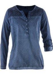 Langarm-Bluse mit Spitze, bpc bonprix collection, indigo used