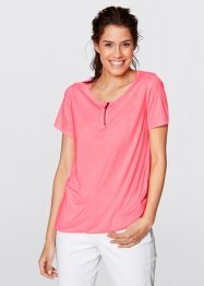 Halbarm-Shirt, bpc bonprix collection, neonrosa meliert