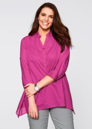 Zipfel-Bluse mit 3/4-Arm, bpc bonprix collection, mattsilber