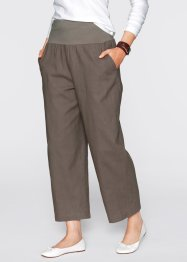 Weite Leinenhose, bpc bonprix collection, mittelbraun