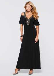 Langes Kleid mit Perlenapplikation, BODYFLIRT boutique, schwarz