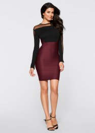 Kleid mit Transparentarm, BODYFLIRT boutique, schwarz/Pomegranate