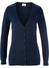 Basic Feinstrick-Jacke, bpc bonprix collection, dunkelblau