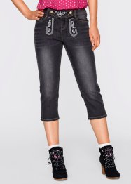 Trachtenjeans mit Stickerei, 3/4-Länge, bpc bonprix collection, black stone
