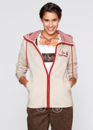 Trachten-Sweatjacke, bpc bonprix collection, kieselbeige/rot