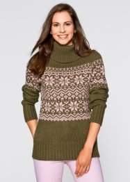 Norweger-Pullover, bpc bonprix collection, khakigrün gemustert