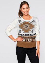 Pullover mit Muster, bpc bonprix collection, wollweiß gemustert