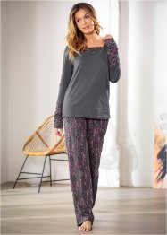 Pyjama, bpc bonprix collection, schiefergrau bedruckt
