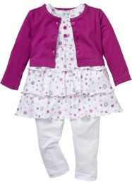 Baby Bolero + Kleid + Leggings (3-tlg.) Bio-Baumwolle, bpc bonprix collection, violettorchidee/weiß