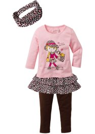 Shirt+Rock+Leggings Set (4-tlg.), bpc bonprix collection, puderrosa/dunkelbraun Leo gemustert