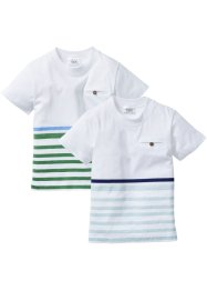 T-Shirt (2er-Pack), bpc bonprix collection, hellblau/blattgrün+mitternachtsblau/mint