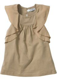 Volant Top, bpc bonprix collection, taupe