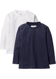 Langarmshirt (2er-Pack), bpc bonprix collection, weiß+dunkelblau