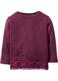 Sweatshirt mit Spitze, bpc bonprix collection, beere