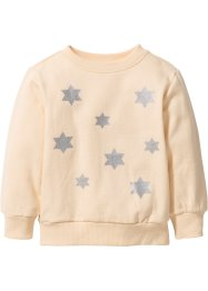 Sweatshirt mit Glitzerdruck, bpc bonprix collection, hellapricot/silber