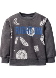 Sweatshirt, bpc bonprix collection, anthrazit meliert/blau bedruckt