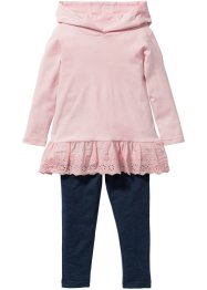 Longshirt mit Spitze + Leggings (2-tlg. Set), bpc bonprix collection, zartrosa/blau melange