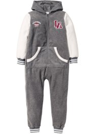 Fleece Overall, bpc bonprix collection, grau meliert/wollweiß